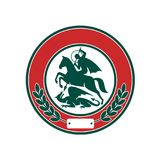 Saint George Slaying Dragon Circle Retro Stock Photography