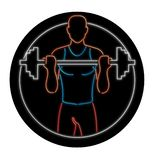 Athlete Lifting Barbell Oval Neon Sign. Retro illustration showing a 1990s neon sign light signage lighting of a Caucasian physical fitness athlete lifting a royalty free illustration