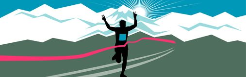 Marathon Runner Finishing Wide Format. Retro style illustration of a silhouette of marathon runner flashing victory hand sign with snow capped mountains and vector illustration