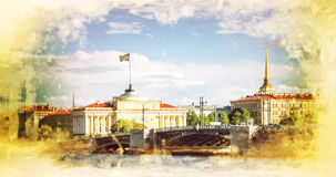 Retro style image of Admiralty building, Saint Petersburg Royalty Free Stock Images