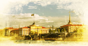 Retro style image of Admiralty building, Saint Petersburg Royalty Free Stock Image