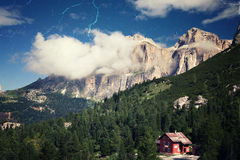 Retro style image of Alpine landscape Stock Images
