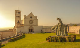 Retro style image of Basilica of San Francesco d'Assisi, Assis Royalty Free Stock Photography