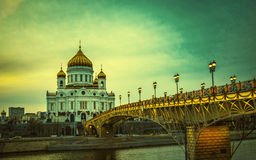 Retro style image of The Cathedral of Christ the Saviour, Moscow Royalty Free Stock Photos
