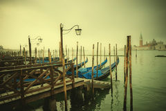 Retro style image of Gondolas at Grand Canal, Venice, Italy Royalty Free Stock Image