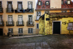 Retro style image of old european street and houses Stock Images
