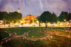 Retro style image of St. Sophia (Hagia Sophia) miseum. In Istanbul, Turkey Stock Photos