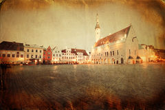 Retro style image of town hall square in Tallinn. Estonia Stock Photos