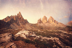 Retro style image of Tre Cime Royalty Free Stock Photos
