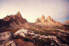 Retro style image of Tre Cime Royalty Free Stock Photo