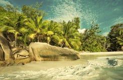 Retro style image of tropical island beach Stock Photos