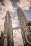Retro style image of Twin Towers in Kuala Lumpur, Malaysia Royalty Free Stock Photos