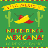 Retro style Independencia Mexicana card. Retro style Independencia Mexicana (Mexican Independence Day) card in  format Stock Image