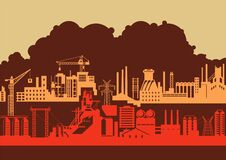 Free Retro Style Industrial Background Vector Illustration Royalty Free Stock Image - 217219516