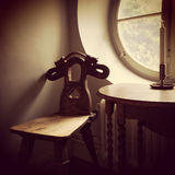 Retro style interior with wooden furniture Royalty Free Stock Photography