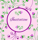 Retro style invitation card with hand draw grapes. Stock Photo