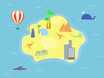 Retro Style Island Map Royalty Free Stock Images