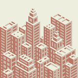 Retro style isometric city. Buildings vector illustration stock illustration