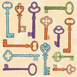 Retro style keys composition Royalty Free Stock Photos