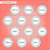 Retro style kitchen spices storage tags collection Stock Photography