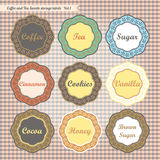 Retro style kitchen sweets storage tags collection. Retro style kitchen food storage tags collection vector Royalty Free Stock Photography