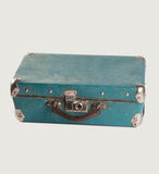 Retro style leather suitcase. Light-blue Baggage. isolated. Royalty Free Stock Image