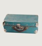 Retro style leather suitcase. Light-blue Baggage. isolated. Royalty Free Stock Image