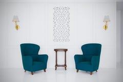Retro style luxury gossip armchairs 3d render minimal room vector illustration