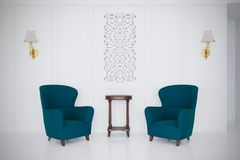 Retro style luxury talk couch 3d render minimal room royalty free illustration