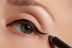 Retro style make-up. Daily makeup detail. Eyeliner. Beautiful eyes Stock Image