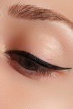 Retro style make-up. Daily makeup detail. Eyeliner. Beautiful eyes Royalty Free Stock Image