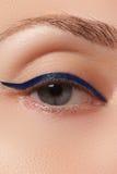Retro style make-up. Daily makeup detail. Eyeliner. Beautiful eyes Stock Images