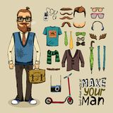 Retro style man set Royalty Free Stock Photography