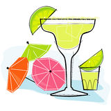 Retro-style Margarita. Retro-stylized cocktail spot illustration: Margarita vector illustration