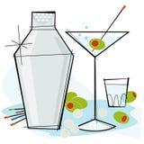 Retro-style Martini. Retro-stylized cocktail spot illustration: Martini with olive Royalty Free Stock Photos