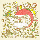Retro style Merry Christmas doodles Stock Photo