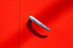 Retro style metal, silver door handle Stock Images
