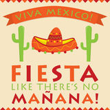 Retro style Mexican Fiesta card Royalty Free Stock Images