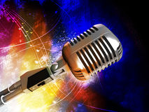 Retro style microphone Stock Photo