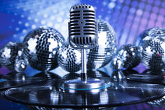 Retro style microphone, Music background Stock Photography