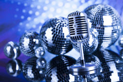 Retro style microphone, Music background Stock Images