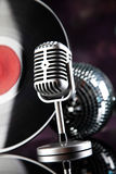 Retro style microphone, Music background, music saturated concep Royalty Free Stock Photography