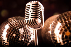 Retro style microphone, Music background, music saturated concep Stock Photography