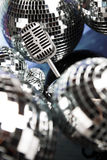 Retro style microphone, Music background Stock Photos