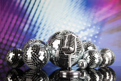 Retro style microphone, Music background Stock Photo