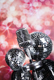 Retro style microphone, Music background Royalty Free Stock Images