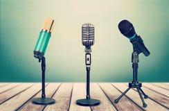 Retro style microphones on  background. Style retro mic microphones background holiday equipment Royalty Free Stock Photos