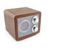 Retro style mini radio player. Isolated on white background Royalty Free Stock Photos