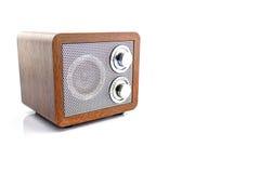 Retro style mini radio player. Isolated on white background Royalty Free Stock Image