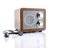 Retro style mini radio player. Isolated on white background Stock Images